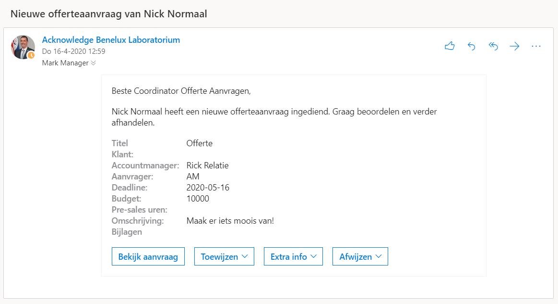 Automatiseer processen met Microsoft Power Automate en SharePoint - Screenshot mail aanvraag