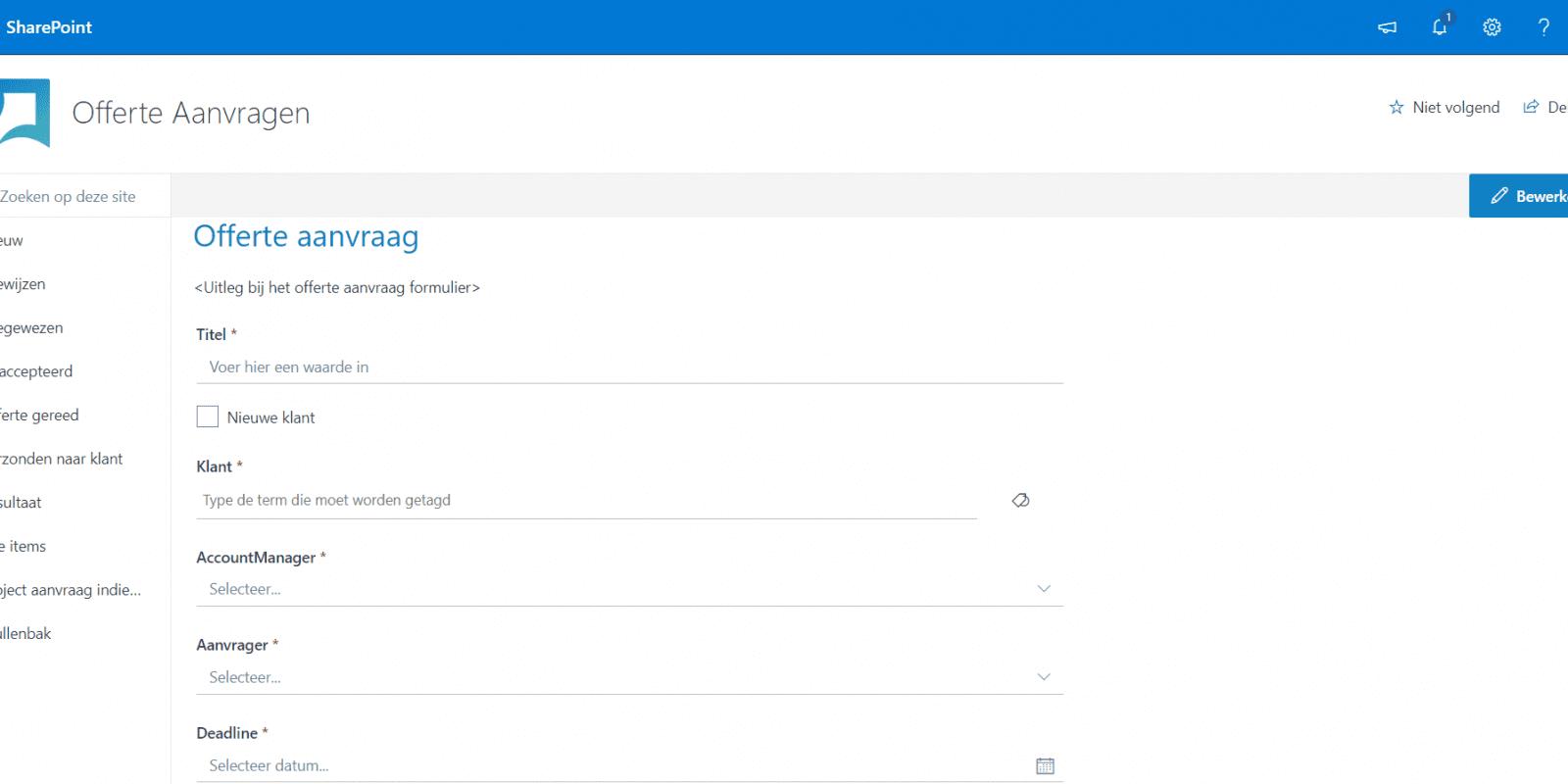 Automatiseer processen met Microsoft Power Automate en SharePoint - Screenshot offerte aanvragen