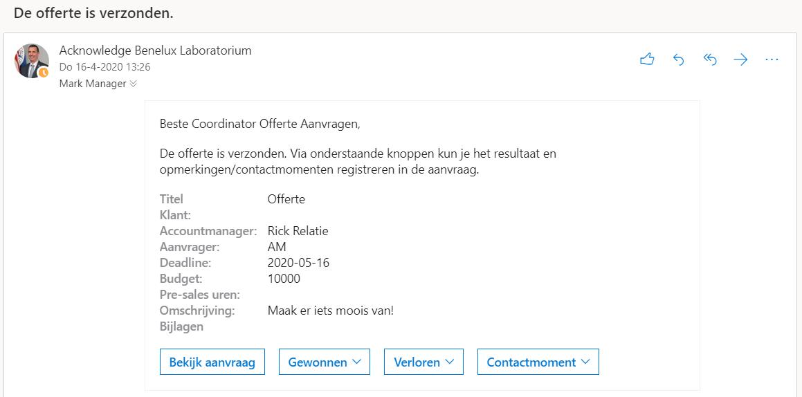 Automatiseer processen met Microsoft Power Automate en SharePoint - Screenshot offerte verzonden